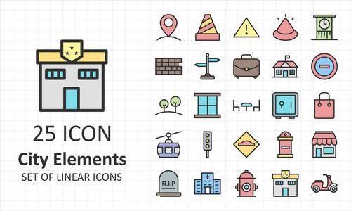 City elements icon collection vector