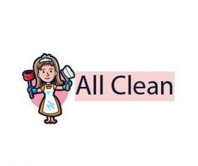 Clean maid service logo vector