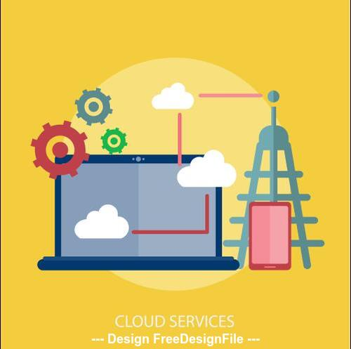 Cloud services elements vector