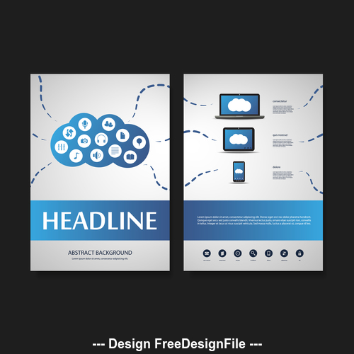 Cloud website flyer design template vector