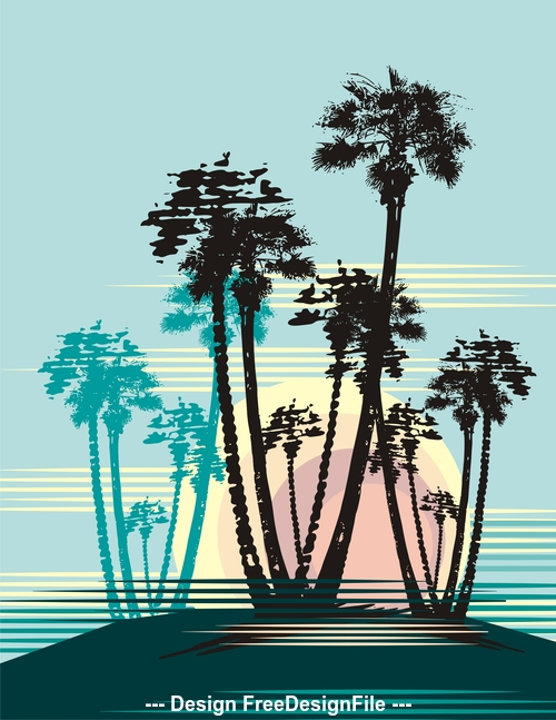 Coconut tree silhouette background vector