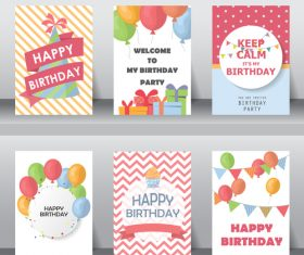 Collection birthday greeting card vector