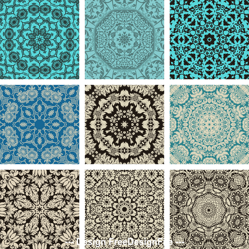 Collection of different flower patterns vector
