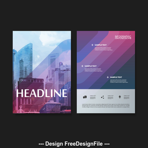 Color brochure design template vector