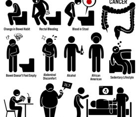 Colorectal cancer medical icons vector