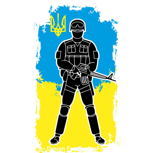 Colorful background soldier silhouette vector