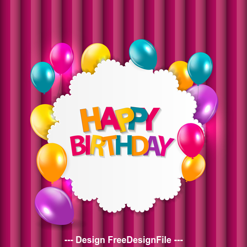 Colorful balloons birthday card vector