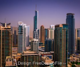 Colorful dubai marina skyline dubai stock photo