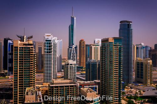 Colorful dubai marina skyline dubai stock photo