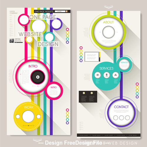 Colorful geometric background website design template vector