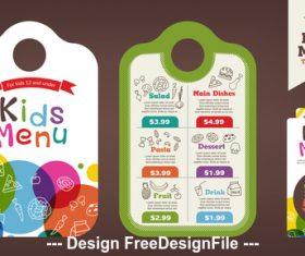 Colorful kids meal menu vector template