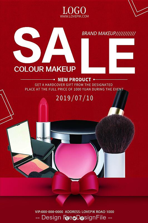 Coloul makeup sale flyer psd template