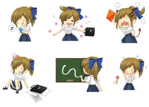 Comic school girl vector