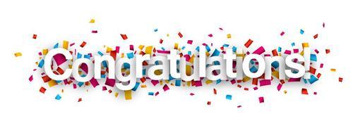 Congratulations font and confetti vector