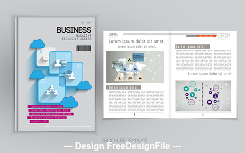 Content and cover business brochure vector