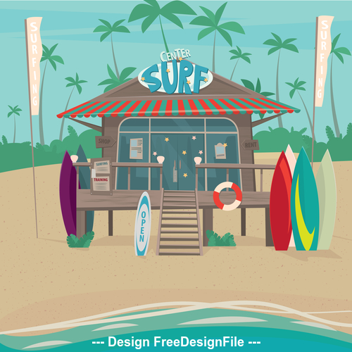 Convenience store on the beach vector