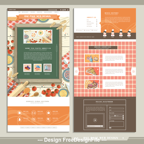 Cooking single page website design template vector