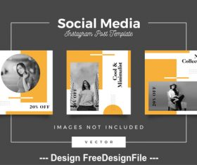 Cool minimalist social media template vector