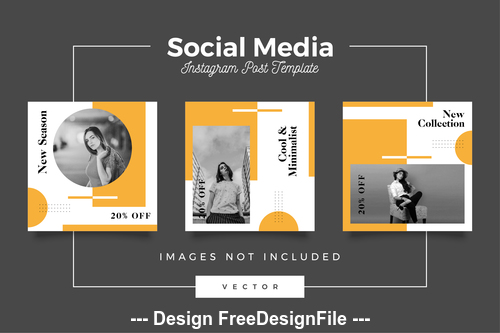 Cool minimalist social media template vector