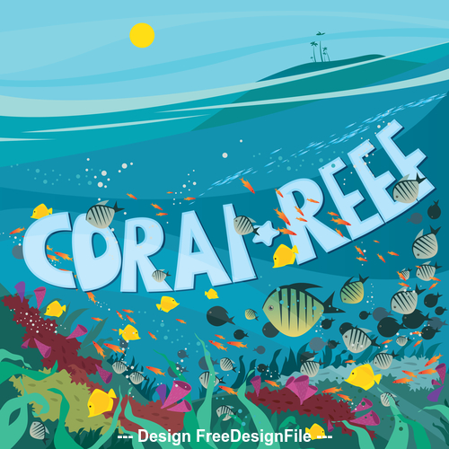 Coral reef with lots of fish of different species and seaweed vector