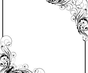 Corner floral swirl design vector