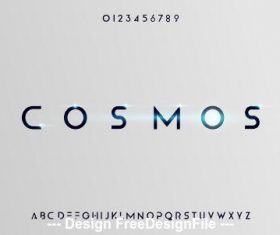 Cosmos shiny font design vector
