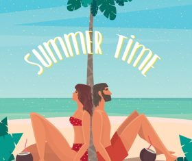 Couple sitting on a beach under a palm tree vector