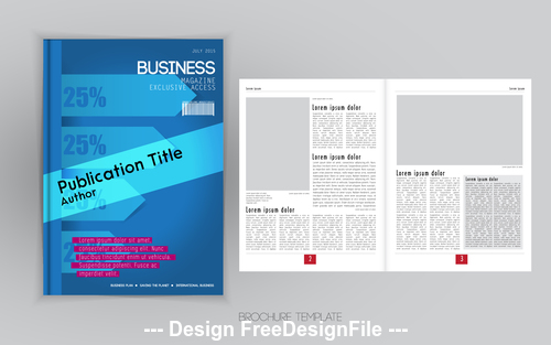 Cover blue business brochure vector