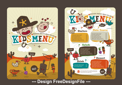 Cover kids menu vector