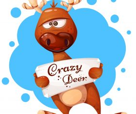 Crazy deer cartoon vector