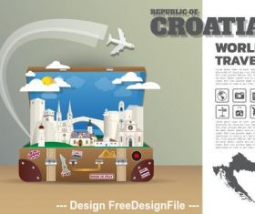 Croatia travel cartoon illustration vector