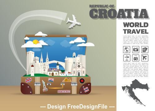 Croatia travel cartoon illustration vector