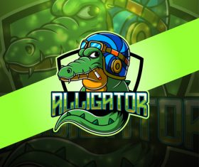 Crocodile gaming logo vector