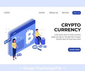 Crypto currency isometric page vector