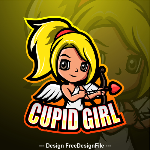 Cupid girl gaming mascot design vector