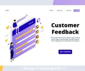 Customer feedback isometric page vector