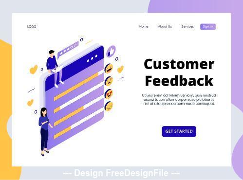 Customer feedback isometric page vector