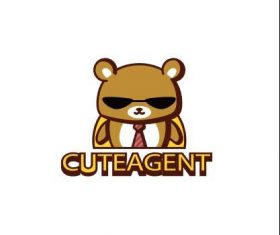 Cute agent bear logo vector