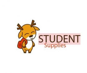 Cute deer mascot character logo vector