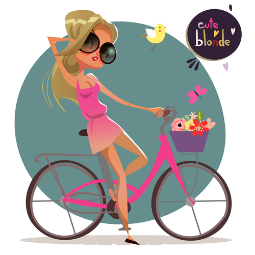 Cycling blond girl vector