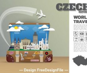 Czech travel cartoon illustration vector
