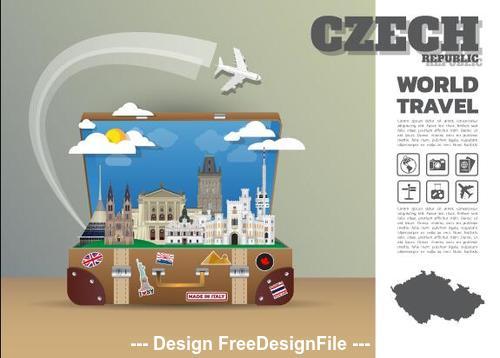 Czech travel cartoon illustration vector