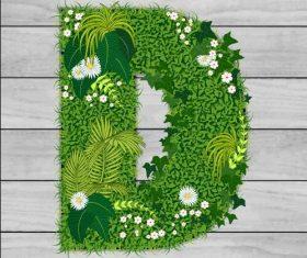 D floral letters vector