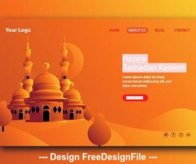 Dark beige background Ramadan kareem landing page vector