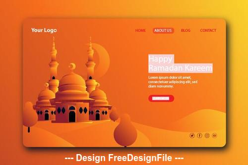 Dark beige background Ramadan kareem landing page vector