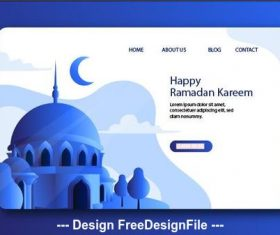 Dark blue background Ramadan kareem landing page vector