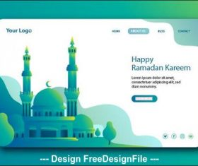 Dark cyan background Ramadan kareem landing page vector