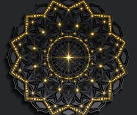 Dark golden shiny mandala pattern vector