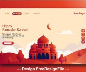 Dark red background Ramadan kareem landing page vector