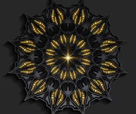 Dark shiny mandala pattern vector
